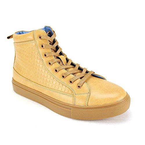 718 Brand 6731 Fashion Sneakers ~ High Top ~ Designer Sneaker (10, Scotch) (Best Designer Sneaker Brands)