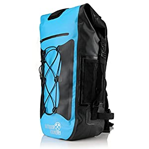 Outdoor Foundry 100% Waterproof Backpack - Dry Bag Closure - without Optional Laptop Sleeve - 35L - Padded Back and Straps (Blue - No Laptop Sleeve)