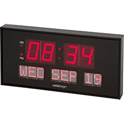 Soliddesign™ Oversized 16-inch X 7.5-inch Digital Led Calendar Wall Clock