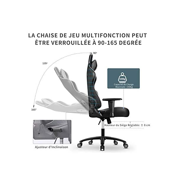 mfavour Chaise Gaming, Chaise Bureau, Chaise Bureau en Maille, Fauteuil Gamer Ergonomique avec Appui-tête et Oreiller…