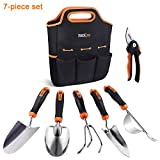 TACKLIFE Garden Tools Set, 7 Piece Stainless Steel Heavy Duty Gardening kit with Soft Rubberized Non-Slip Handle -Durable Storage Tote Bag and Pruning Shears - Garden Gifts for Men & Women