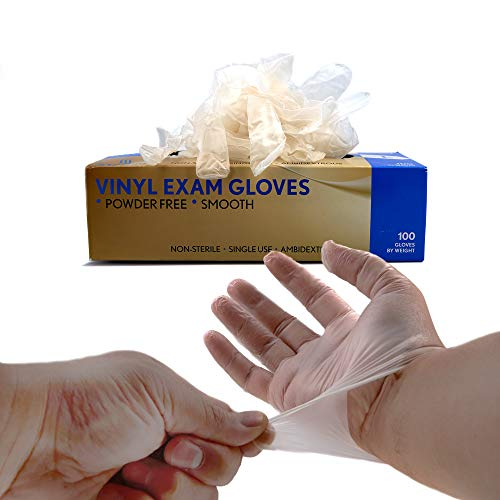SRENTA Disposable Safe-Touch Vinyl Exam Gloves, Latex Rubber Free, Powder Free, Great for Medical Use, Cleaning, Painting, Pet Care, Crafting, 100 Gloves Per Box (Large)