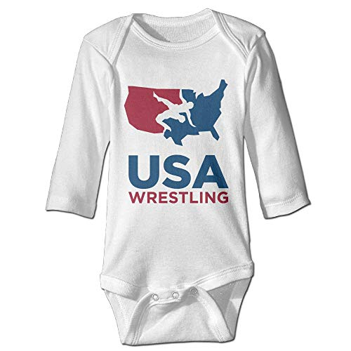 Shijingshan USA Wrestling Long Sleeve Baby Onesies Bodysuit Baby Clothes Jumpsuit by Shijingshan