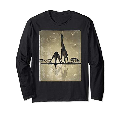 Giraffes In Africa Sunset Scenery Tee Shirt Wildlife Gift