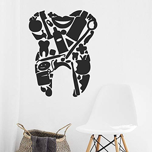 Jiesa Wall Art Stickers Quotes and Sayings Dentist Dental Tools Tooth Bathroom Decor Bedroom Kids Room Nursery]()