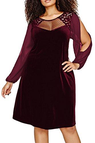 LaSuivuer Women's Plus Size Chiffon Velvet T Shirts Short Lace Dress Red XXL