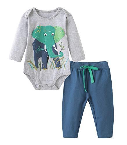 BabyBoysCottonSummerSetsShortsleeveElephantPatternt-ShirtsandShorts2pcsClothingSets (12M/9-12M, BA3031)