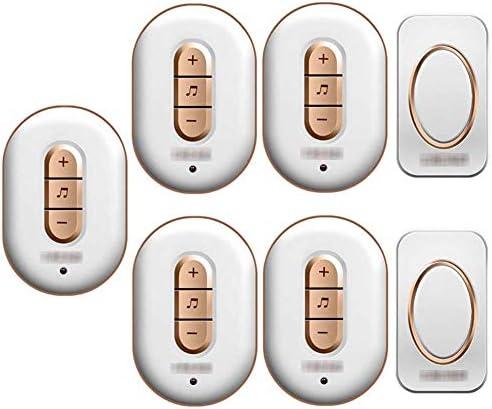 ウォールプラグインコードレスドアチャイム、IP44防水ドアベルキット、900フィートの範囲48チャイム6レベルボリューム(2つのプッシュボタンと5つのレシーバー),1