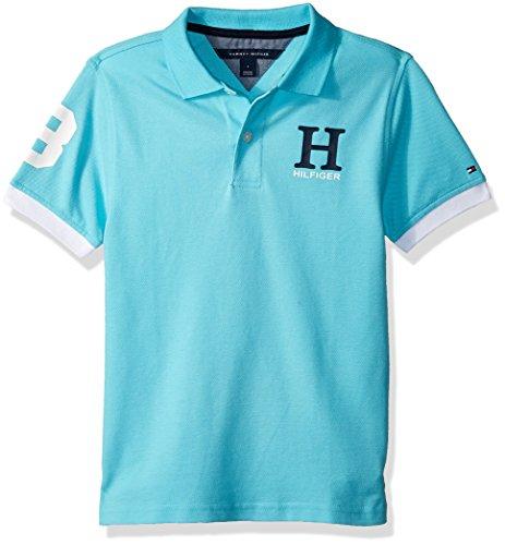 Tommy Hilfiger Boys' Little' Short Sleeve Solid Matt Polo Shirt, Bermuda Blue, 6