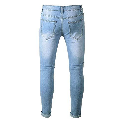Sfilacciati Stile Used Jeans Semplice Libero Lanceyy Uomo Slim Skinny Effetto Tinta Elasticizzati Da Blau Pantaloni Tempo Outdoor Il Unita Per wXfZd7qd