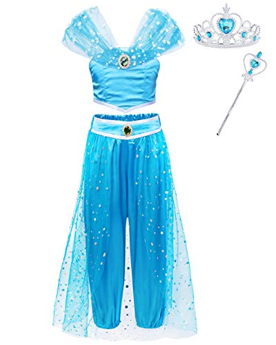 Jurebecia Jasmine Dress up Costume Girls Princess Arabian Halloween Cosplay with Crown Blue Age 7-8 Years Size -