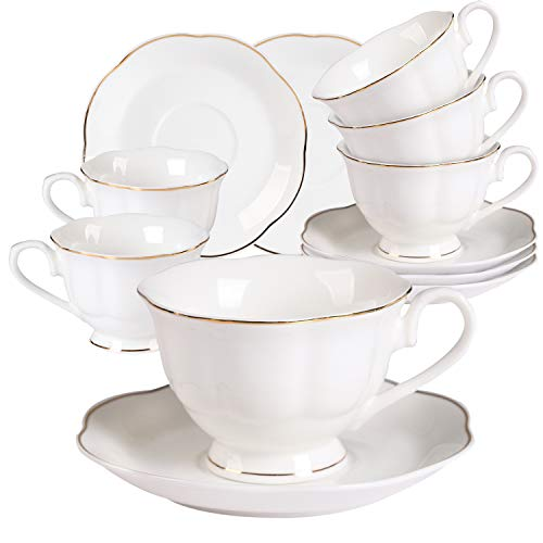 Cups Saucers Oven Safe (Coffee Cup and Saucer Set,Porcelain Tea Cups with Golden Wavy Edge,7oz New Bone China Mocha/Latte Cup Set,Cappuccino Cups Set of 6,Pure White)
