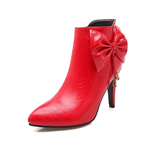 VogueZone009 Damen Reißverschluss Hoher Absatz PU Rein Rund Zehe Stiefel, Rot, 36
