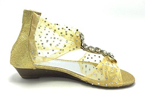 Womens Gladiator Roman Ankelen T-stropp Flats Sandaler Thongs Sko Gull