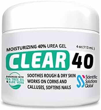 CLEAR 40, 40% Urea Gel, 4 oz w/ Tea Tree & Coconut Oil, Aloe Vera Extract, Callus & Corn Remover Moisturizes & Softens Cracked Heels, Feet, Elbows, Hands, Nails, Re-hydrates skin better than creams