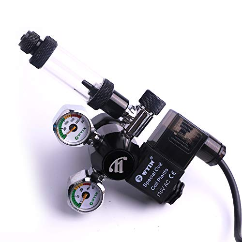 Aquarium CO2 Regulator Mini Dual Gauge Display with Bubble Counter and Check Valve w/Solenoid 110V Fits Standard US Tanks Easy to Adjust CO2 Level Comes w/Tools (Counter Bubble Co2)