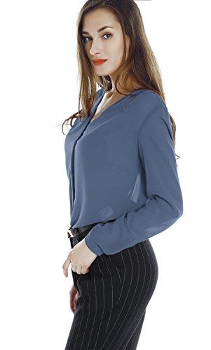 Urban GoCo Blusa de Gasa con Escote en V Mangas Largas y el Dobladillo en el Hombro para Mujeres Azul grisáceo
