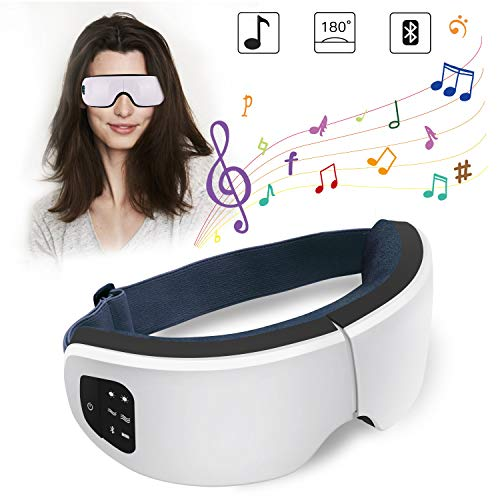 Eye Massager with Heating and Air Pressure, Foldable and Portable Eye Massager for Eye Fatigue Relief, Eye Therapy Massager for Improving Blood Circulation and Sleep Quality