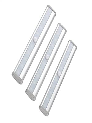 Led Under Cabinet Light,Ruilida Wireless Motion Sensor Light,10 LED with Magnetic Strip,3-Pack