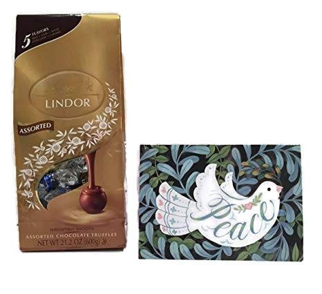 Lindt Lindor Assortment Chocolate Truffles Candy Ultimate 5 Flavors Bag (21.2oz) and An Eco-Friendly Designer 5 x 7 Christmas Holiday Card For The Perfect Gift Bundle (2 Items)