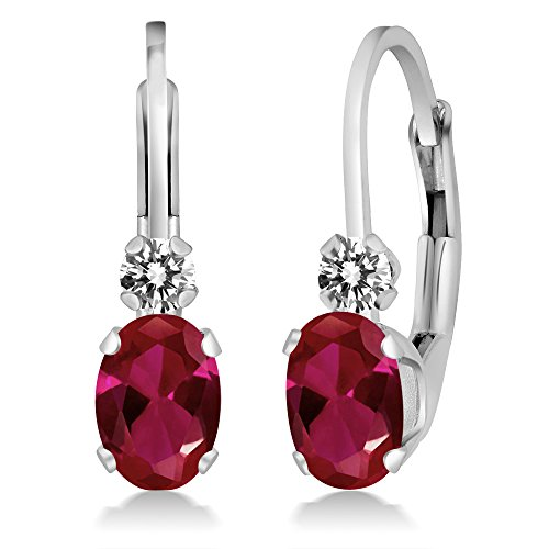 Gem Stone King 1.07 Ct Oval Red Created Ruby White Diamond 14K White Gold ()