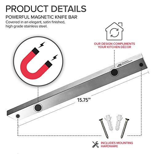 Modern Innovations 16 Inch Stainless Steel Magnetic Knife Bar with Multi-Purpose Functionality as a Knife Holder, Knife Strip, Magnetic Tool Organizer, Art Supply Organizer & Home Organizer