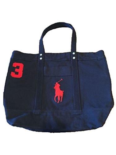 tton Canvas Big Pony Zip Tote Bag (Aviator Navy) (Ralph Lauren Canvas Tote)