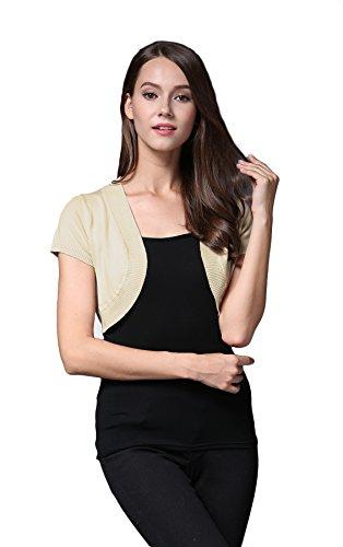 Sofishie Trendy Short Sleeve Shrug Open Cardigan - Apricot - Large