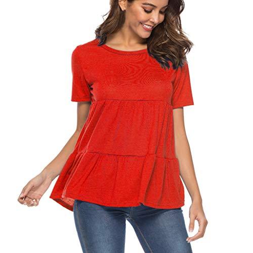 Transer- Ruffles Hem Tops Crew Neck Short Sleeve Solid Summer Soft Casual Loose T-Shirt