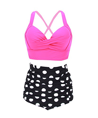 Plus Size High Waist Vintage Retro Bikini Push Up Separate Swimwear Polka Dots XXXL