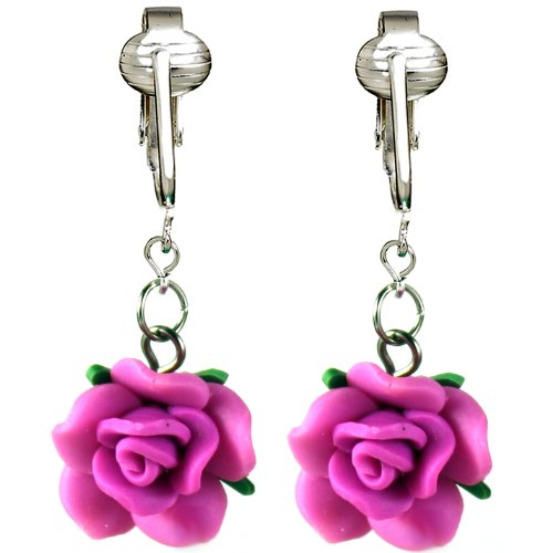 Beautiful Pink, Yellow, Blue, Purple Rose Clip-on Earrings for Women, Girls-Handcrafted Clay Flowers Clip (Purple Roses)