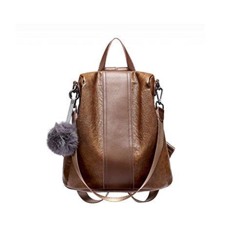 Women Fashion Leather Tassel Backpack Travel Shoulder Bag White - 2