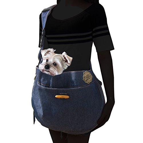 Alfie Pet - Lucian Denim Pet Sling Carrier with Removable Inner Lining (Sling Style Pet Carrier)