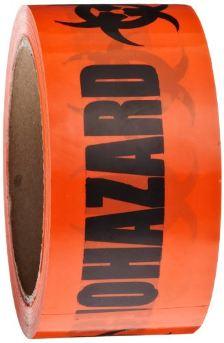 Roll Products 142-0004 PVC Film Biohazard Warning Tape with Black Imprint, Legend ''Biohazard'' (with Logo), 55 yd. Length x 2'' Width, 3'' Diameter Core Roll, for Identifying and Marking, Fluorescent Red/Orange by Roll Products