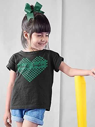 عتيق تيشيرت بناتي قطن بتصميم القلب السعودي ، مقاس 32 EU ، لون اسود
