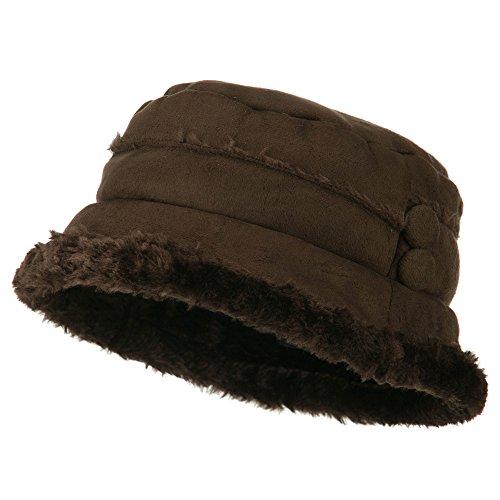 Women's Faux Suede Bucket Hat - Brown OSFM