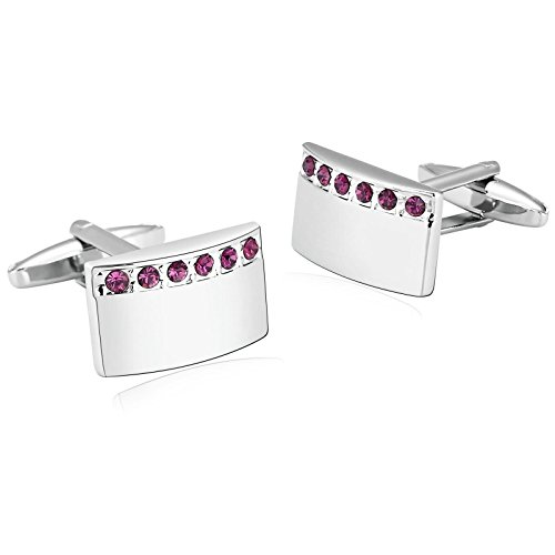 AmDxD Jewelry Stainless Steel Cufflinks for Men Arch Rectangle Silver Purple Cuff Links 2X1.2CM (Chicago White Sox Silver Coin)