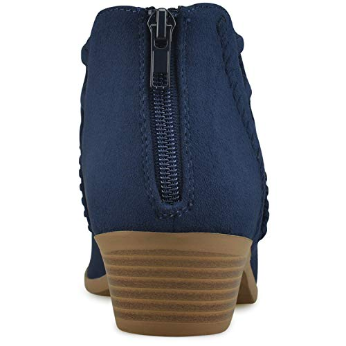 Boots Dark Premier Block S Perforated Ankle Women's Heel Suede Standard Bootie Navy Stacked Cutout Chunky FwrPFxq