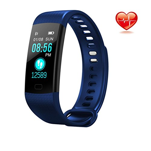 Libison Fitness Tracker Bracelet, Smart Watch Sports Fitness Activity Heart Rate Tracker Blood Pressure Watch, Fully Compatible Android and Apple's IOS System (Blue) Silent Light Phone Ring Sensor