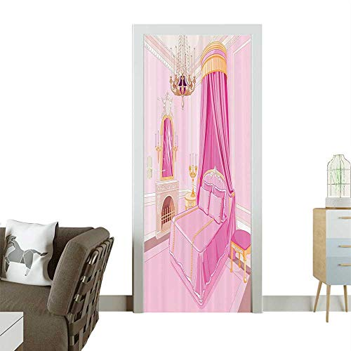 Door Sticker Wall Decals Interior of Magic Princess droom Old Shied Ornament Pillow Lamp Mirror Easy to Peel and StickW30 x H80 INCH