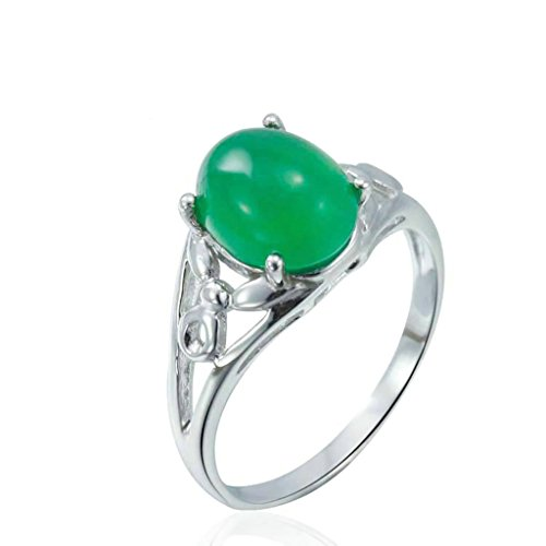 Daesar Sterling Silver Rings Wedding Bands for Women Hollow Oval Chalcedony White Size 7