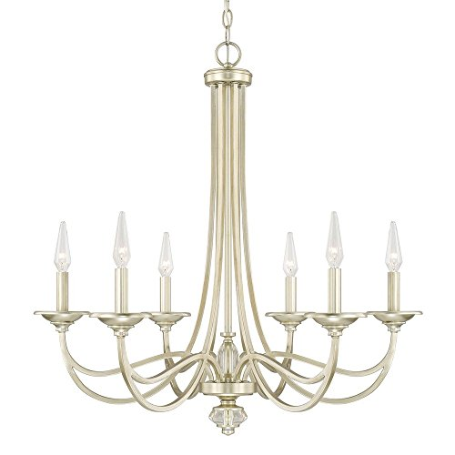 Capital Lighting 413861SF Windsor – Six Light Chandelier, Soft Gold Finish with Clear Crystal