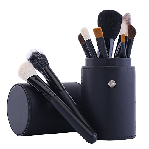 12 pcs Goat Hair Cosmetic Brushes + Makeup Brush Holder Cup Professional Makeup Blusher Foundation Powder Eyeshadow Brush (Clown Makeup Styles)