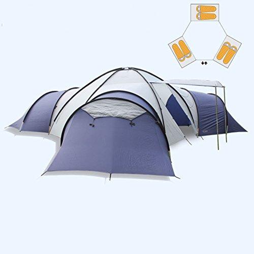 ビルマムス余計なTY&WJ 家族 キャンプテント,大 アウトドア テント ハイキング 3 つのベッドルーム 拡張 ティーピー 4 シーズン 二重層 ドームテント 10 人