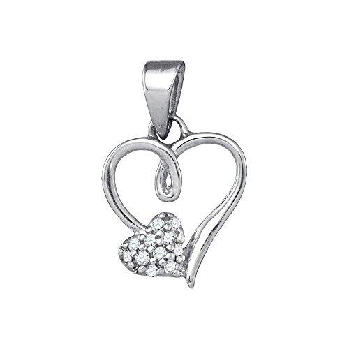 Sterling Silver Womens Round Diamond Heart Love Pendant 1/20 Cttw