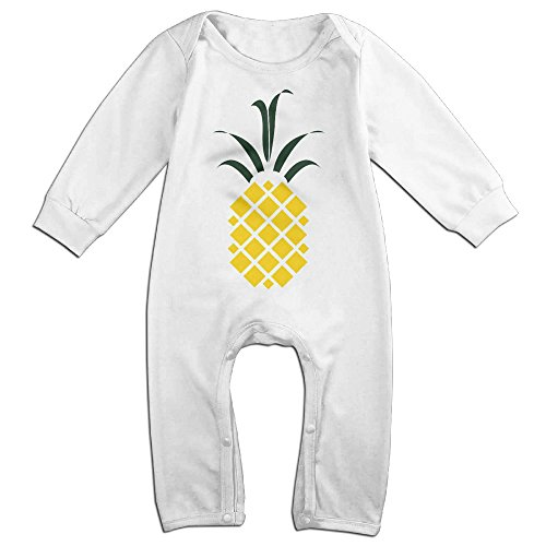 Kiddos Baby Infant Romper Pineapple Long Sleeve Jumpsuit Costume White 12 Months