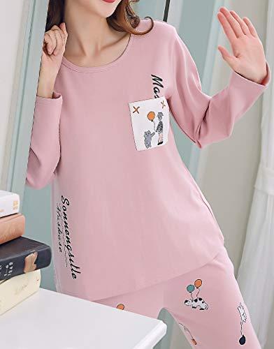Vopmocld Big Girls Lovely Cat Sleepy Bear Sleepwear Cute Cartoon 2PCS Pajama Sets