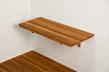 Amazon.com: Plantation Teak Wall Mount Fold Down Shower Bench/Seat ...