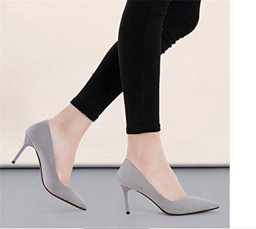 Suede Gris sexy escarpins Xianshu orteil talons hauts pointe chaussures couleur Women's E7wpqv1O