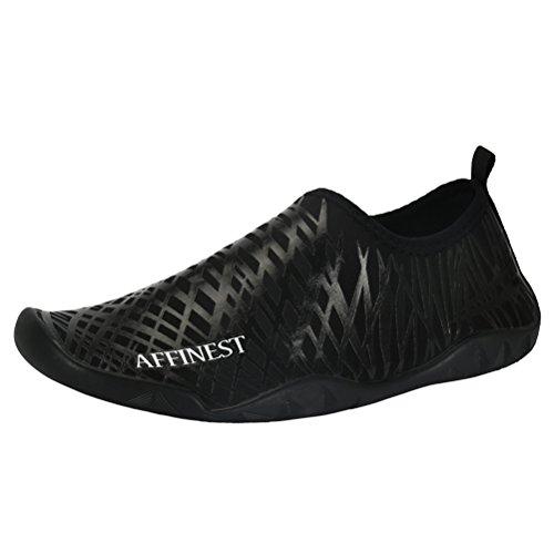 AFFINEST Männer Frauen Aqua Socken Slip-On Wasser Schuhe für Surf Yoga Beach Swim Übung Outdoor Soft Schuhe Schwarz